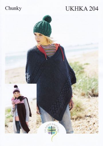 Womens Poncho Hat and Scarf Knitting Pattern in Chunky yarn , UKHKA 204